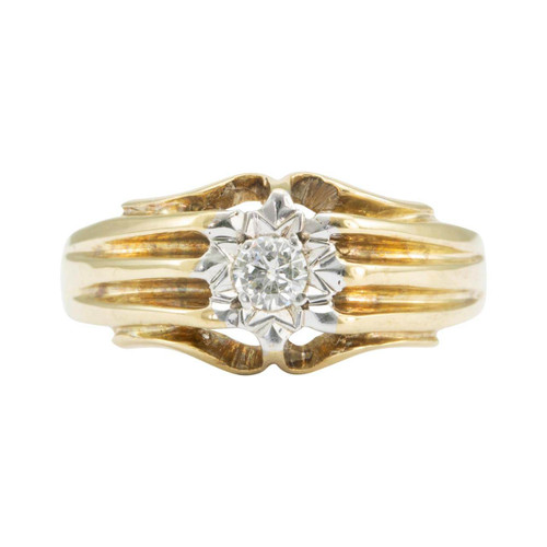 Second Hand 9ct Gold Solitaire Diamond Wide Ring