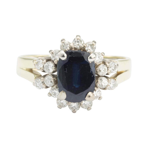Second Hand 14ct Gold Sapphire & Diamond Cluster Ring