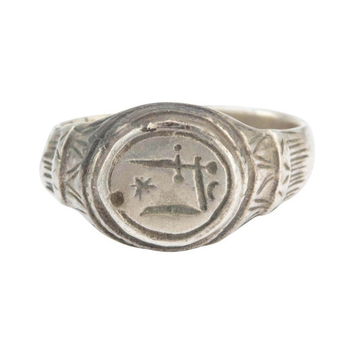 Medieval Silver Signet Ring with Sword, Stars and Moon