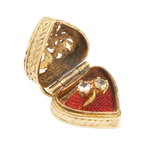 Vintage 9ct Gold Heart Ring Box with Ring Charm Pendant