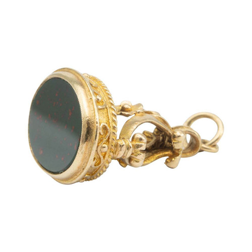 Vintage 9ct Gold Bloodstone Fob Charm Pendant