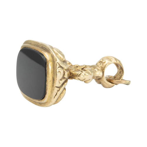 Second Hand 9ct Gold Onyx Fob Charm Pendant