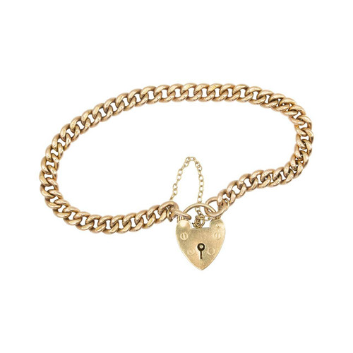 Antique 9ct Gold Curb Charm Bracelet with Heart Padlock