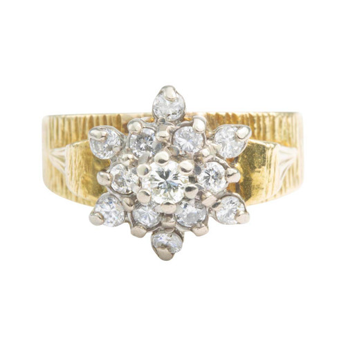 Second Hand 18ct Gold High Set Diamond Cluster Ring
