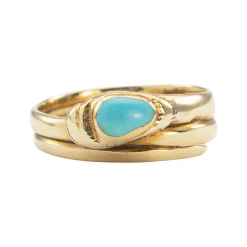 Vintage 14ct Gold Turquoise Set Snake Ring