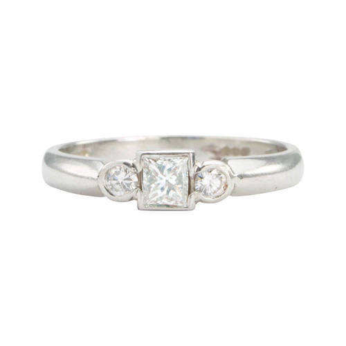 Second Hand Platinum Princess & Round 3 Stone Diamond Ring
