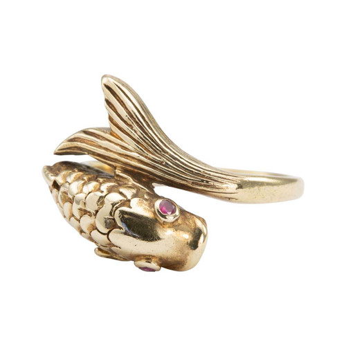 Second Hand 9ct Gold Fish Ring Ruby Eyes