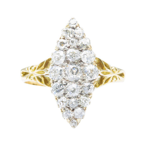 Antique Edwardian 18ct Gold Old Cut Diamond Navette Ring