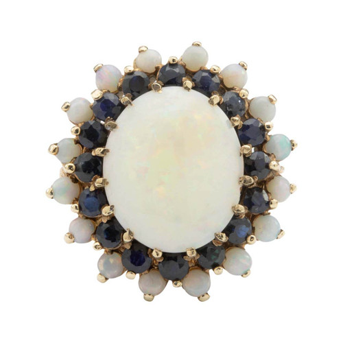 Second Hand 9ct Gold Large Opal and Sapphire Cluster Ring