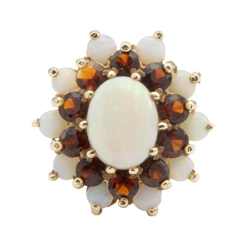 Second Hand 9ct Gold Opal and Garnet Cluster Ring