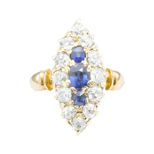 Antique Edwardian 18ct Gold Old Cut Sapphire & Diamond Navette Ring
