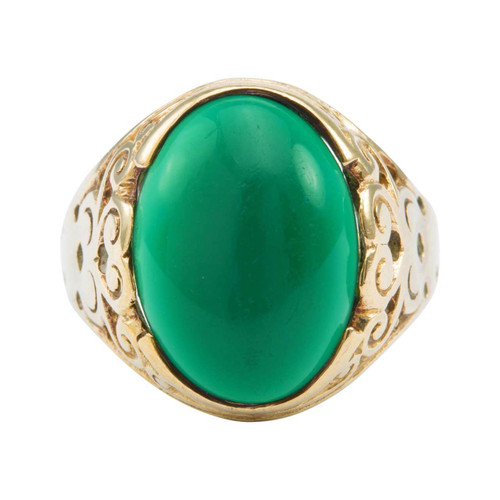 Second Hand 9ct Gold Green Paste Signet Ring