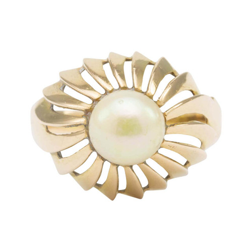 Vintage 18ct Gold Cultured Pearl Dome Ring