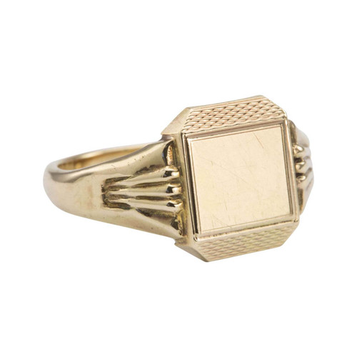 Vintage 1940s 9ct Gold Tapered Rectangular Signet Ring