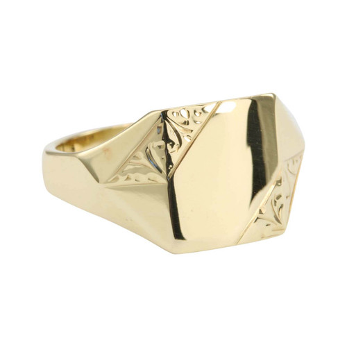 Second Hand 9ct Gold Highly Polished Rectangle Signet Ring