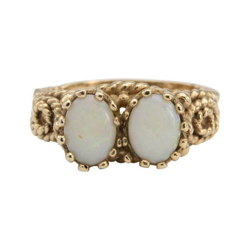 Second Hand 9ct Gold 2 Stone Opal Ropework Ring