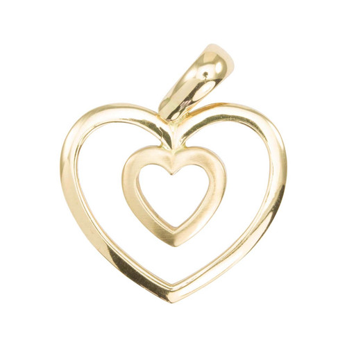 Second Hand 14ct Gold Heart in Heart Pendant