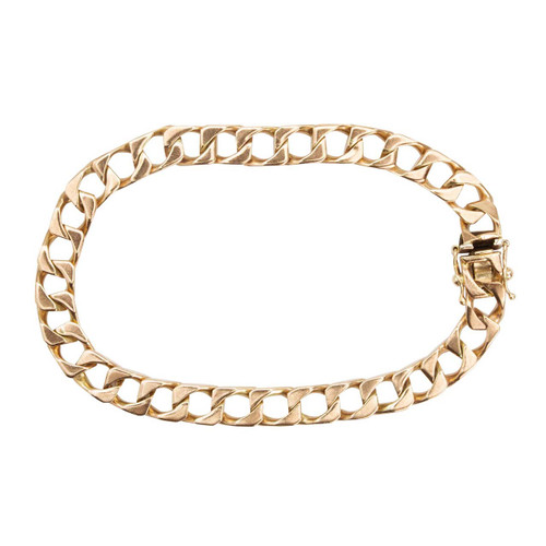 "Second Hand 9ct Rose Gold 8"" Flat Square Curb Bracelet"