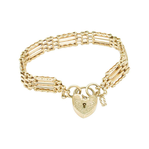 "Second Hand 9ct Gold 7"" 4 Bar Gate Bracelet with Heart Padlock"