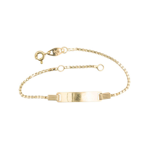 "Second Hand 18ct Gold 4"" / 6"" ID Box Bracelet"