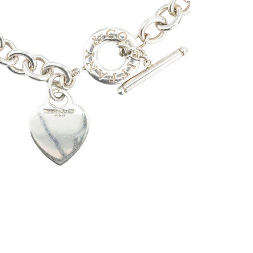 "Second Hand Silver Tiffany & Co 16"" Heart Toggle Necklace"