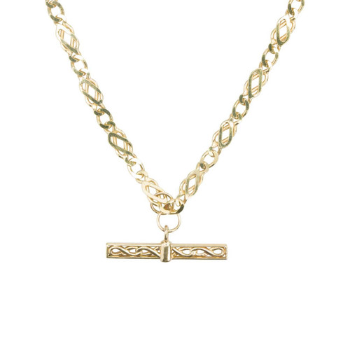 "Second Hand 9ct Gold 18"" Celtic Chain Necklace with T-Bar"