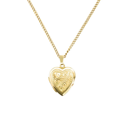 Second Hand 9ct Gold Engraved Heart Locket and Chain