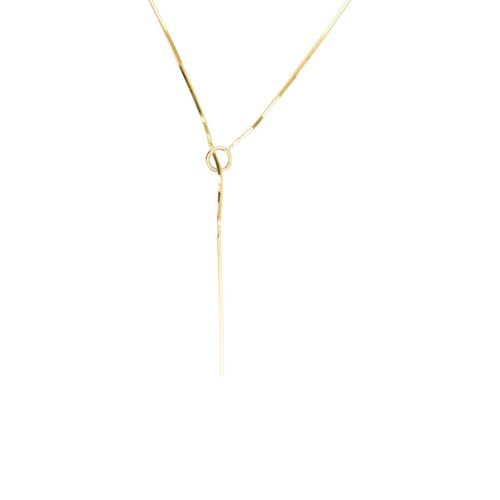 "Second Hand 9ct Gold 21"" Lariat Snake Chain Necklace"