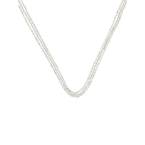 "Second Hand 18ct White Gold 16"" 3 Strand Cable Chain Choker Necklace"