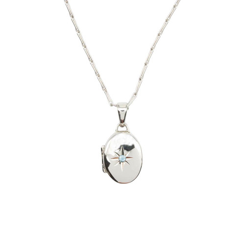 "Second Hand 9ct White Gold Locket and 28"" Chain"