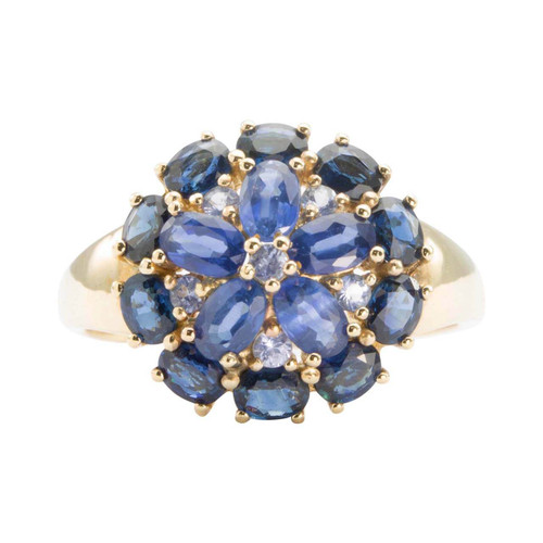 Second Hand 9ct Gold Sapphire & Blue Topaz Cluster Ring