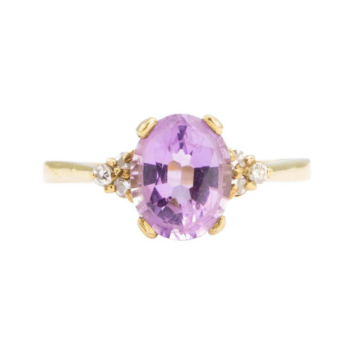 Second Hand 9ct Gold 2 Carat Amethyst & Diamond Shoulders Ring