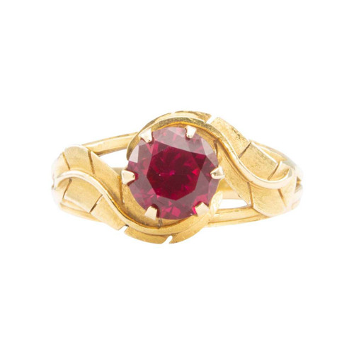 Second Hand 18ct Gold Single Stone Synthetic Ruby with Petal Shoulders Ring