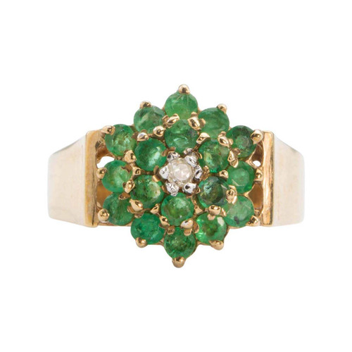 Second Hand 1970s 9ct Gold Emerald and Diamond Ring