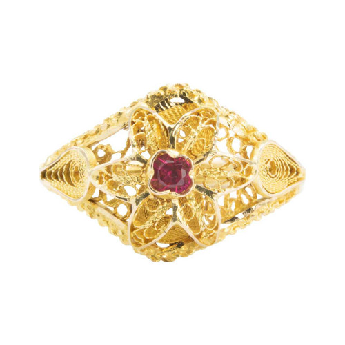Second Hand 18ct Gold Ruby Flower Petal Filigree Ring