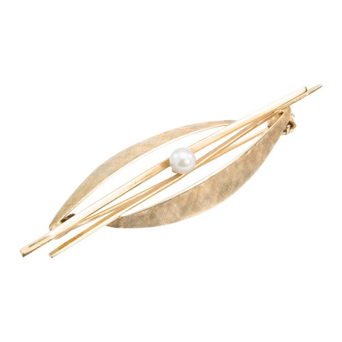Second Hand 14ct Gold Pearl Bar Brooch
