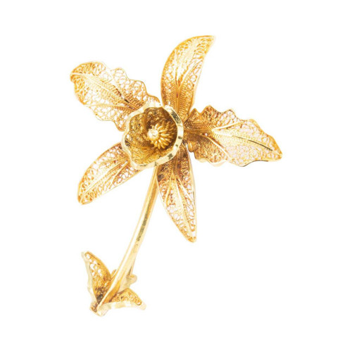 Second Hand 18ct Gold Filigree Flower Brooch