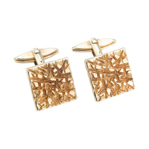 Second Hand 1970s 9ct Gold Bark Effect Cufflinks