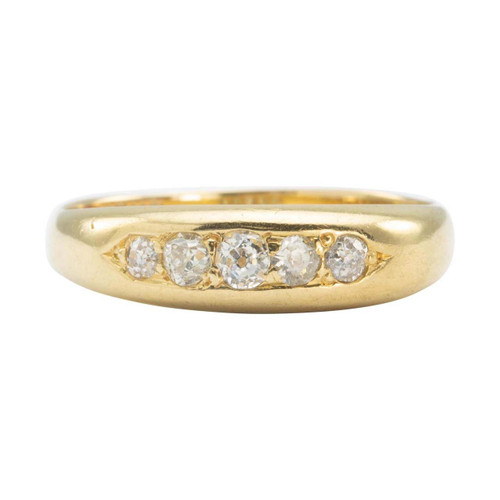 Antique 18ct Gold Old Cut 5 Stone Diamond Gypsy Ring