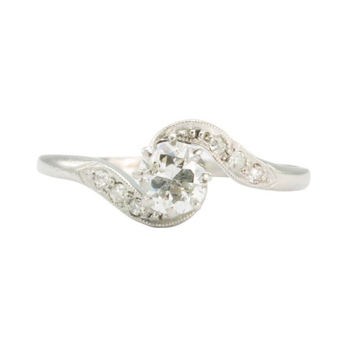 Second Hand Platinum 0.45 Carat Diamond Twist Solitaire Ring