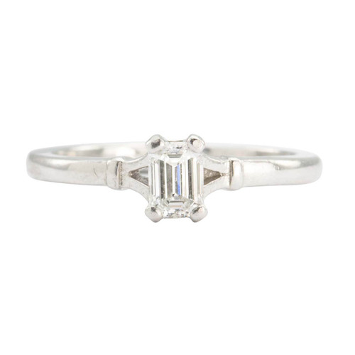 Second Hand Platinum 0.40 Carat Baguette Cut Diamond Solitaire Engagement Ring