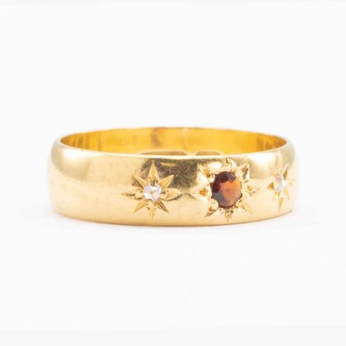 Antique Victorian 22ct Gold Garnet and Diamond Gypsy Wedding Ring