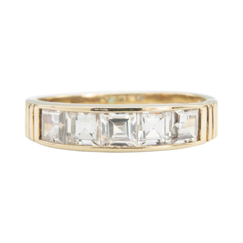 Second Hand 9ct Gold Princess Cut Channel Set Cubic Zirconia Half Eternity Ring