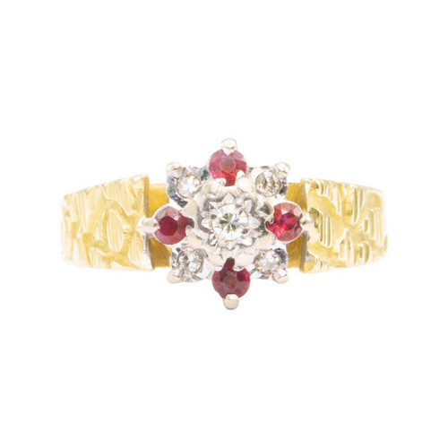 Second Hand 1970 18ct Gold Ruby and Diamond Cluster with Bark Shank Ring