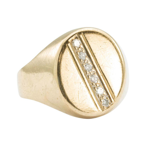 Second Hand 9ct Gold Oval Faced Diamond Signet Ring
