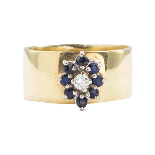 Second Hand 14ct Gold Sapphire and Diamond Cluster Wide Band Ring
