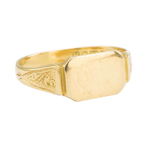 Vintage 1950s Slim 18ct Gold Rectangle Signet Ring