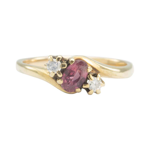 Second Hand 9ct Gold Ruby and Diamond 3 Stone Twist Ring