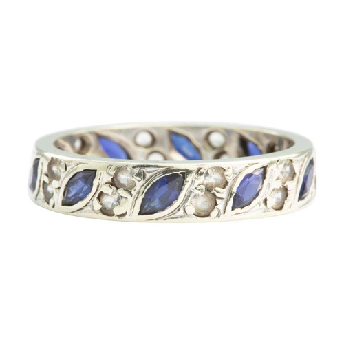 Second Hand 9ct White Gold Sapphire and Diamond Full Eternity Ring