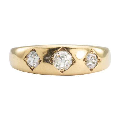 Antique 18ct Gold 3 Stone Old Cut Diamond Gypsy Ring